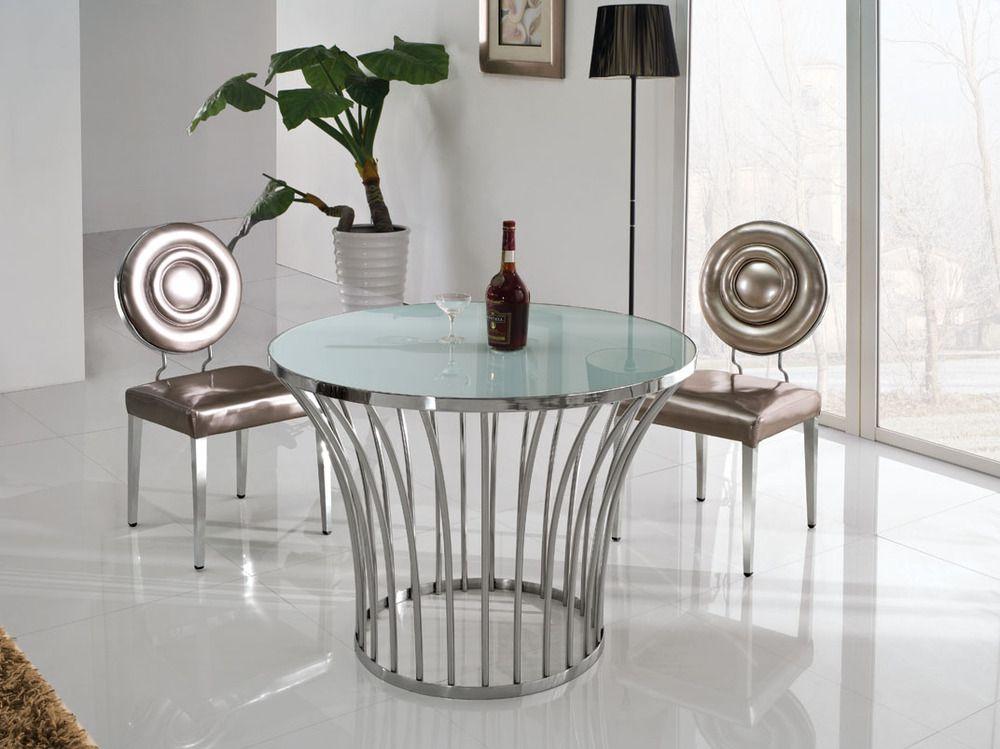 Modern Stainless Steel Round Retro Kitchen Dining Table Design