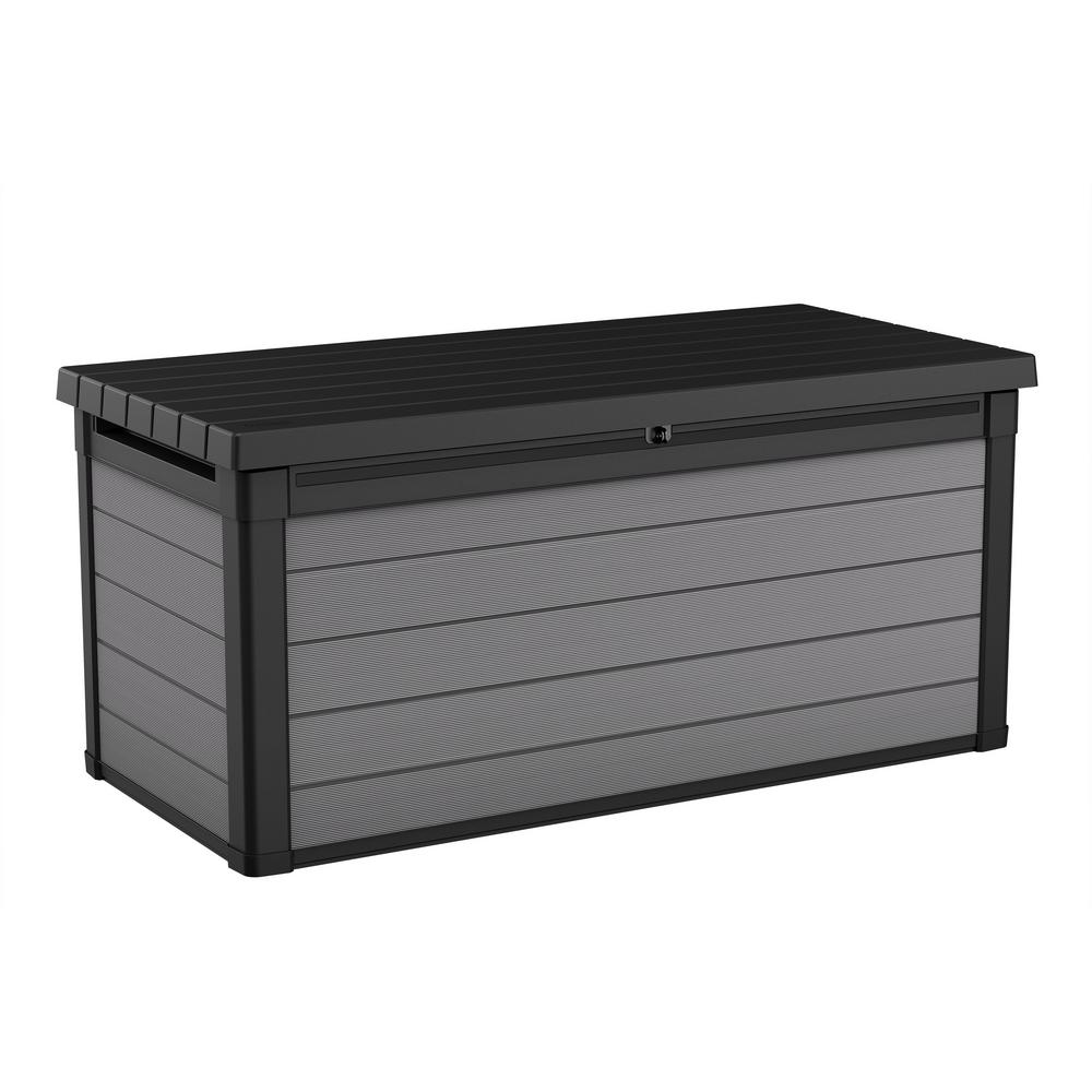 Keter Premier 150 Gal Resin Deck Box 240303 The Home Depot Resin Deck Box Deck Box Storage Resin Outdoor Storage
