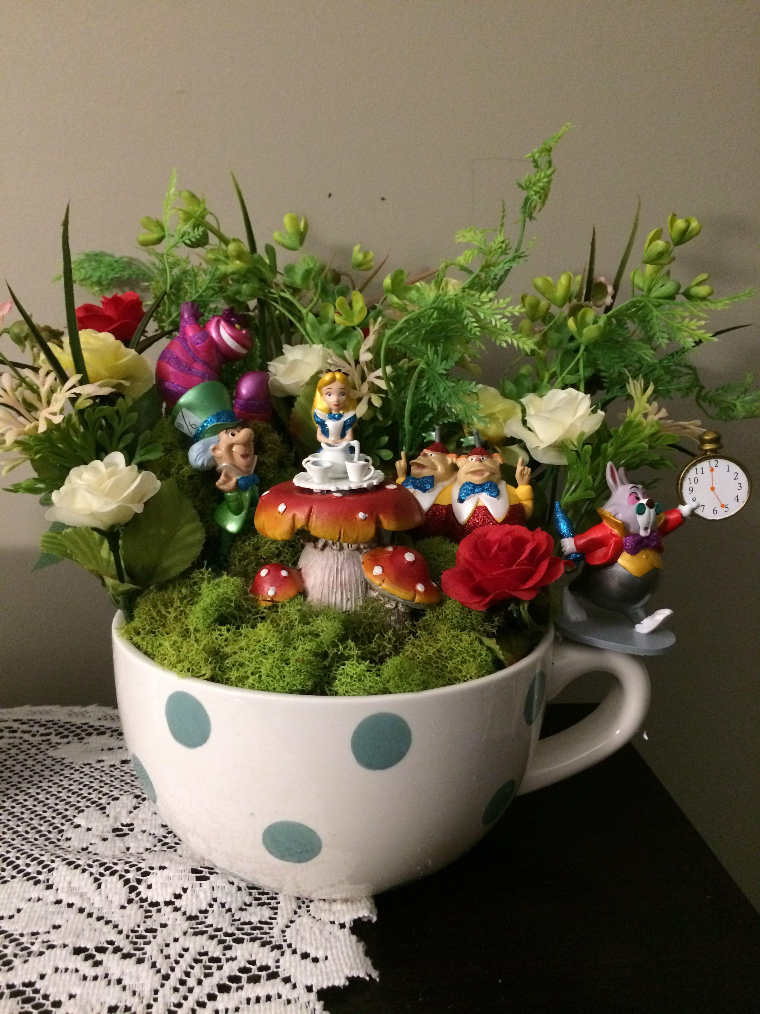 Disney Alice in Wonderland themed tea cup fairy garden