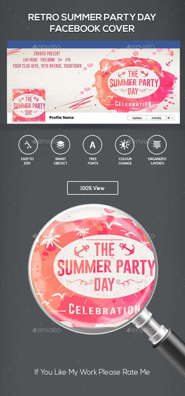 Summer Party FB Cover Summer parties, Edit text and Text color - cover template