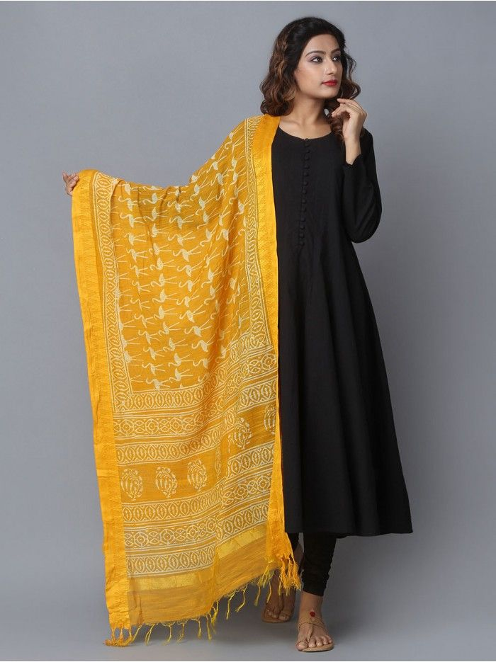 eb2513b5b1 Yellow Stork Printed Bhagalpuri Silk Dupatta | Dressing | Indian ...