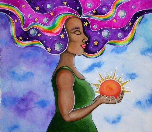 naturally beautifu woman painting