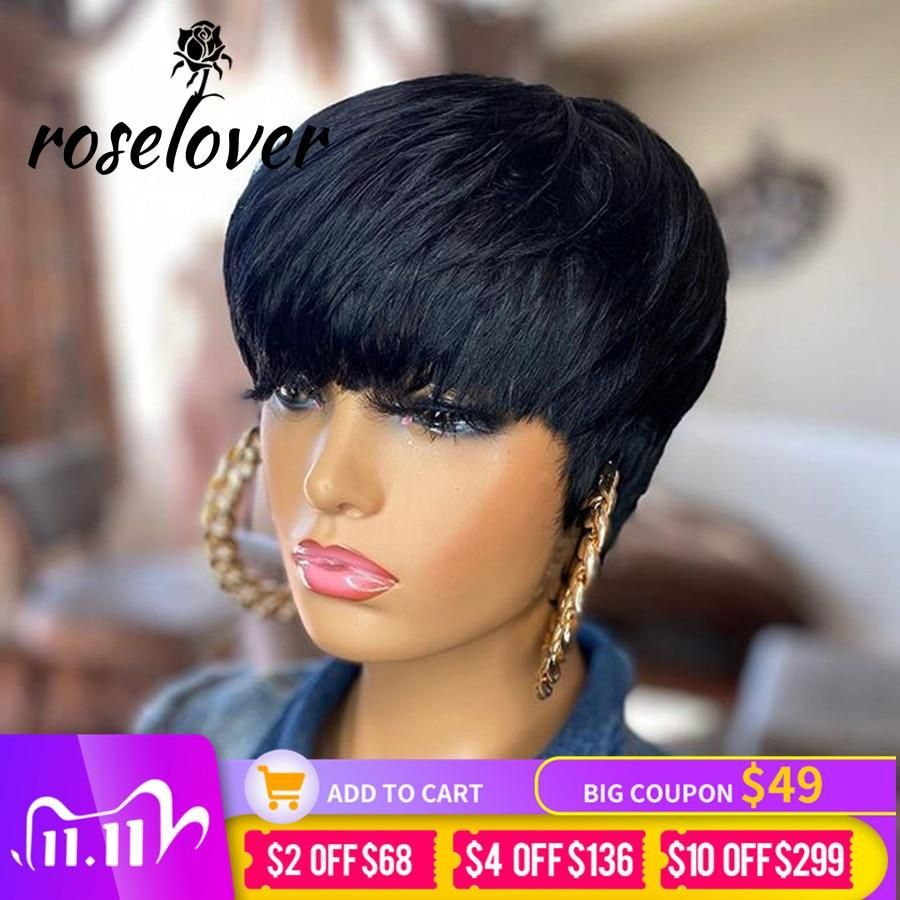 Photo of Short Pixie Cut Straight Hair Wig Peruvian Remy Human Hair Wigs For Black Women 150% Glueless Machine Made Wig Free Shipping – Pic Length / United States