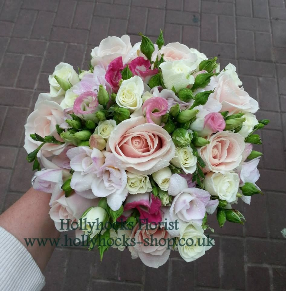 Wedding Bouquet Hand Tied Including Roses, Lisianthus And