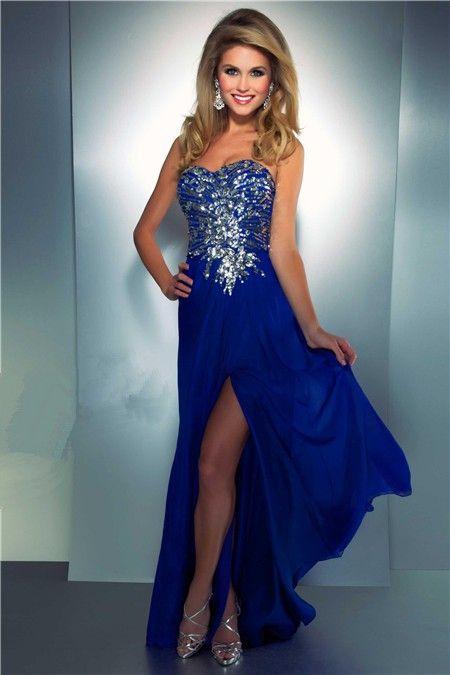blue slit dress | ... Long Royal Blue Chiffon Beaded Sequin ...