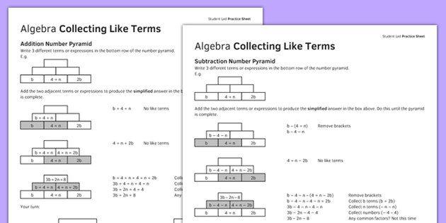 Ks3ks4 Maths Student Led Practice Sheets Algebra Collecting Like