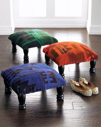 Kilim Footstools At Horchow Small Footstool Ottoman Footstool