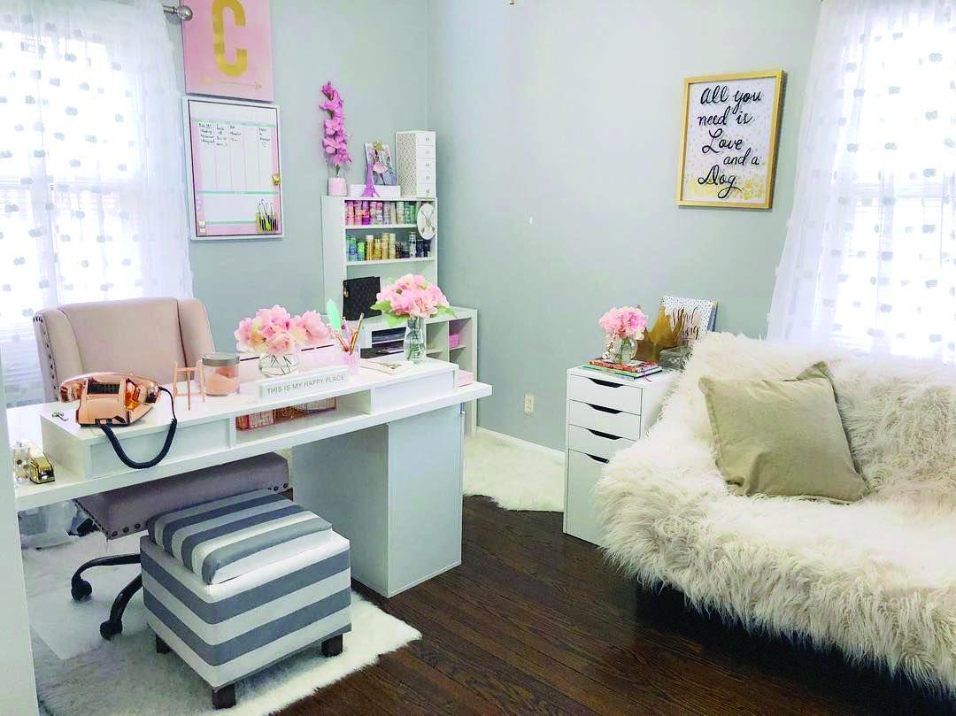 6 Office Organization Ideas Dova Home Feminine Home Offices Home Office Setup Guest Room Office