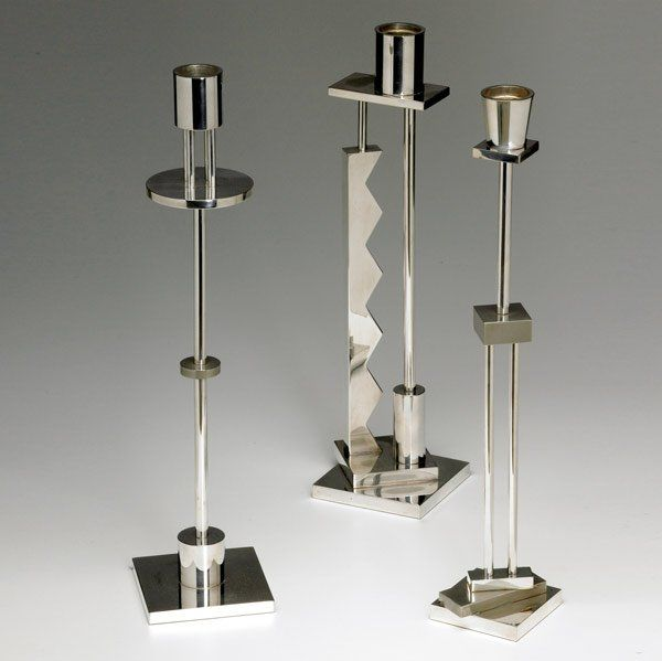 ETTORE SOTTSASS / SWID POWELL Three candlesticks
