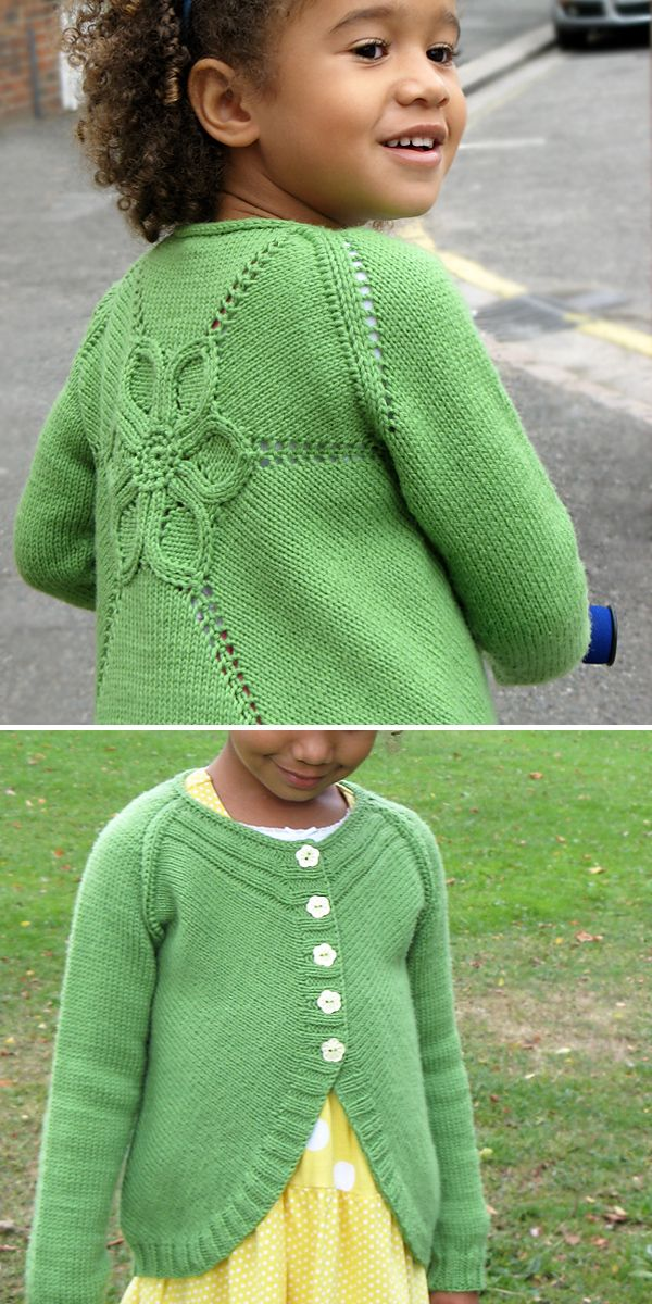 Flower Cardigan (kids) Knitting pattern by Ewelina Murach
