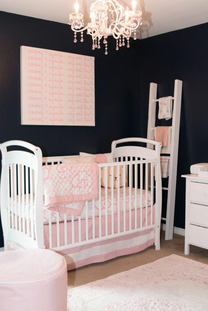 babyzimmer dekoration weißes babybett möbel lampe weiß rosa deko - schlafzimmer einrichten mit babybett