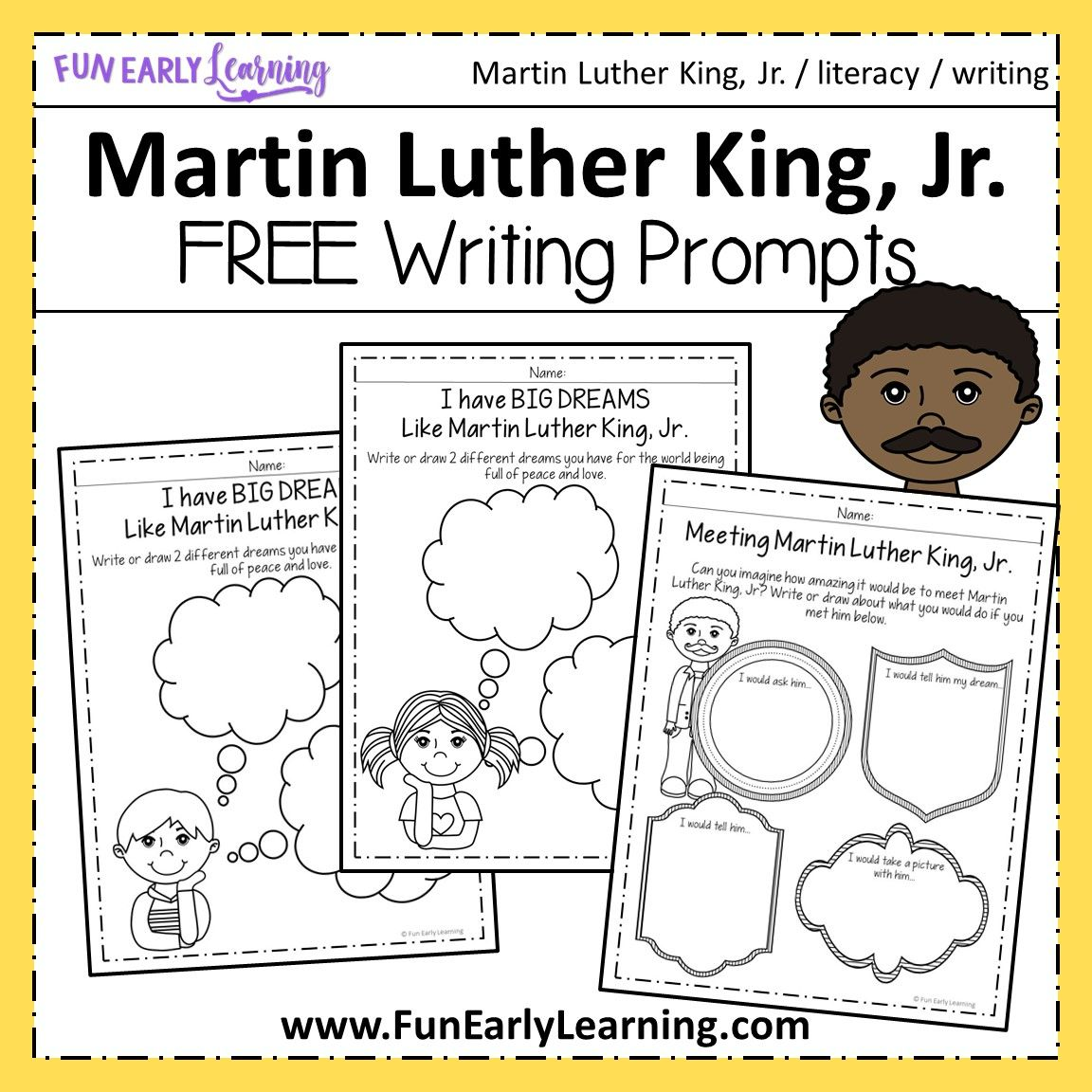Martin Luther King Jr Writing Prompts For Preschool And Kindergarten Martin Luther King Jr Writing Activities Martin Luther King Jr Writing Martin Luther King Writing Activities [ 1152 x 1152 Pixel ]