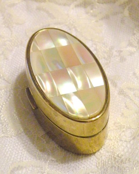 Vintage Max Factor Lipstick Compact Mother of Pearl Hinged Purse Compact Mirror Lipstick Case