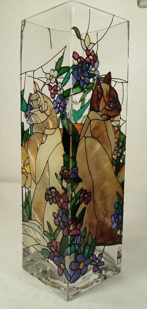 Joan Baker Hand Painted Cat Stained Glass Style Square Art Vase Vases Pinterest Square