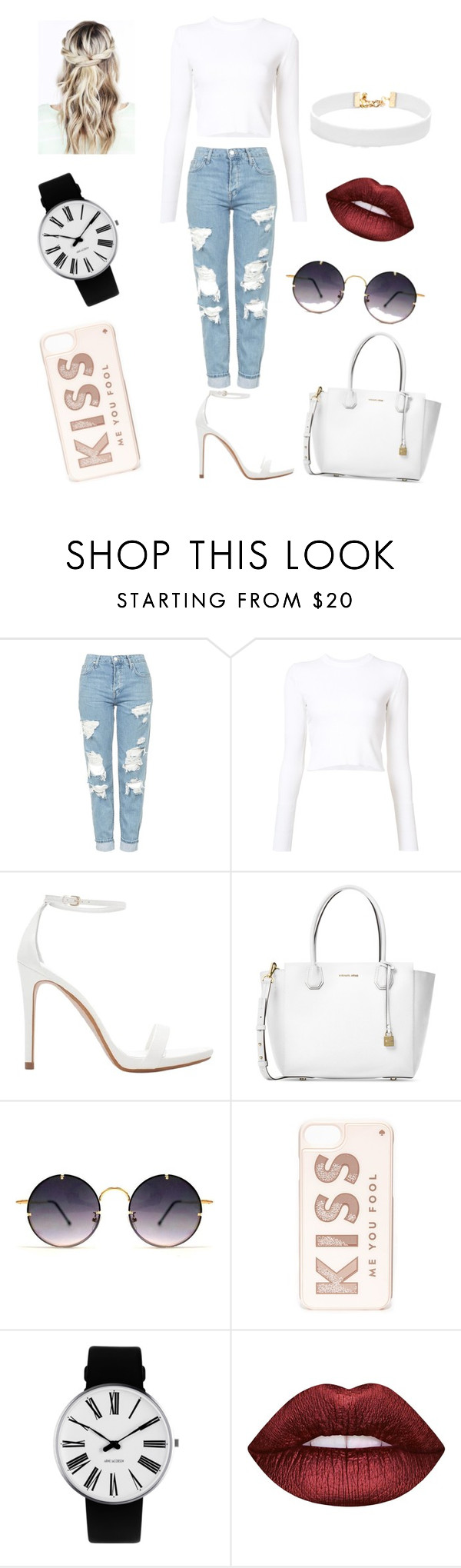 """""""Untitled #80"""" by kaela-baby ❤ liked on Polyvore featuring Topshop, Proenza Schouler, Zara, Michael Kors, Spitfire, Kate Spade, Rosendahl, Lime Crime and Vanessa Mooney"""