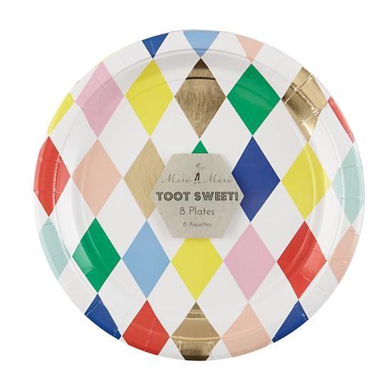 Meri Meri Toot Sweet Harlequin Paper Plates (Set of Gold Foil Mardi Gras Designer Paper Products Tableware Party Supplies Large Plate  sc 1 st  Pinterest & Harlequin Party Plate (Set of 8) Meri Meri Toot Sweet Gold Paper ...