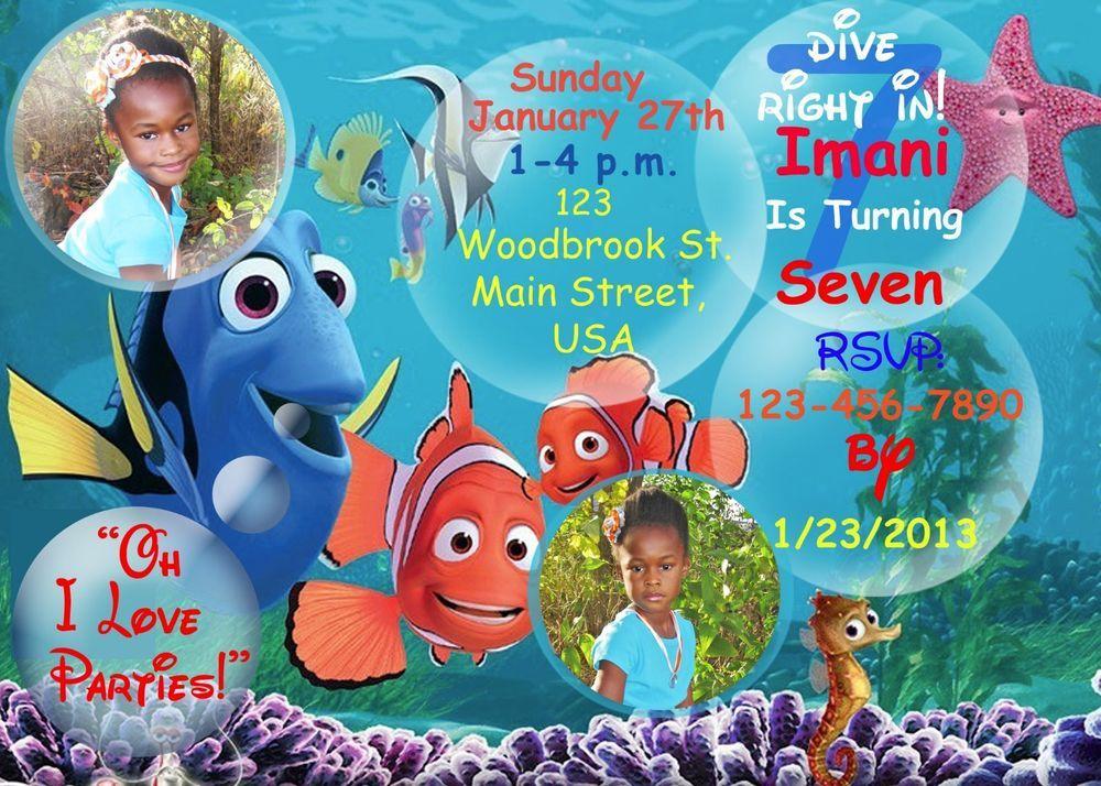 Finding Nemo Birthday Invitation, Nemo, Finding Dora, Birthday ...