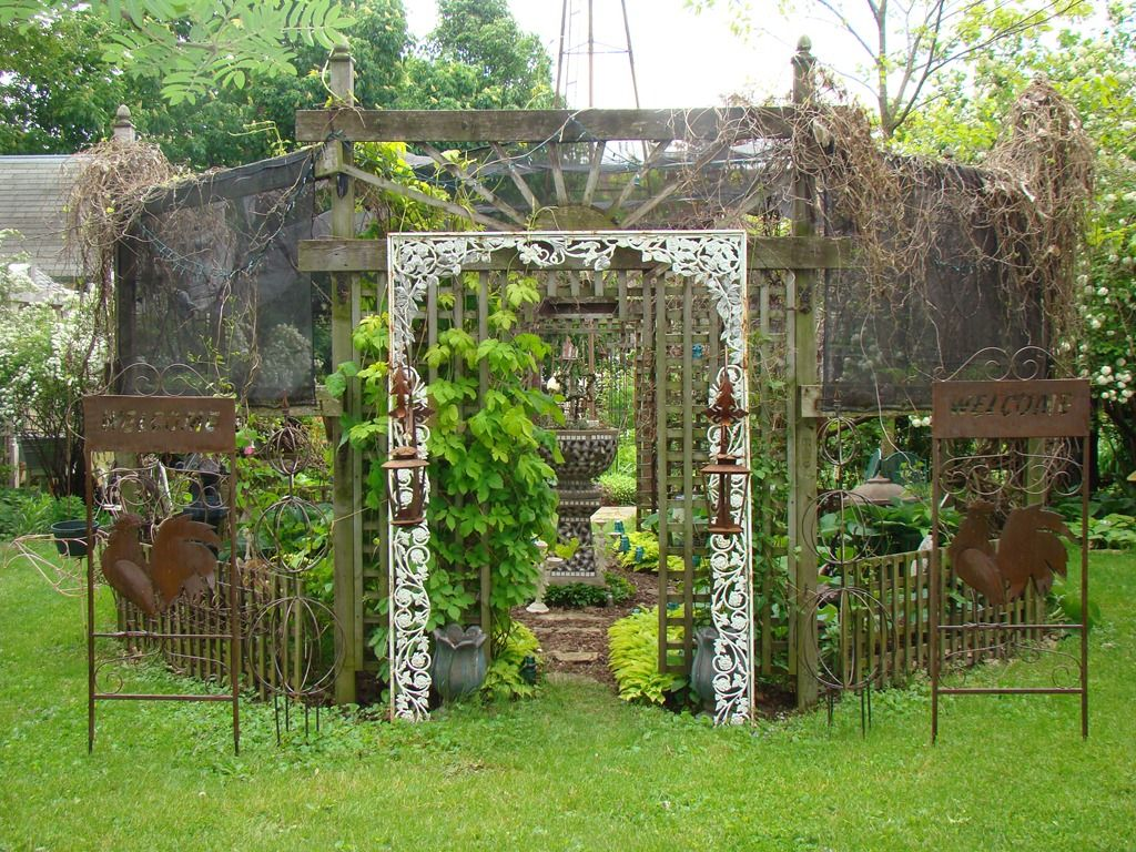 "Garden Decorations From Junk | My hosta shade garden with ""extras ..."