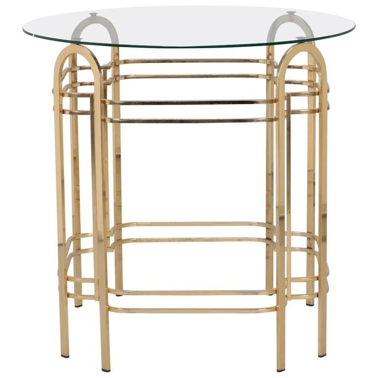 Brass and glass midcentury center table center table