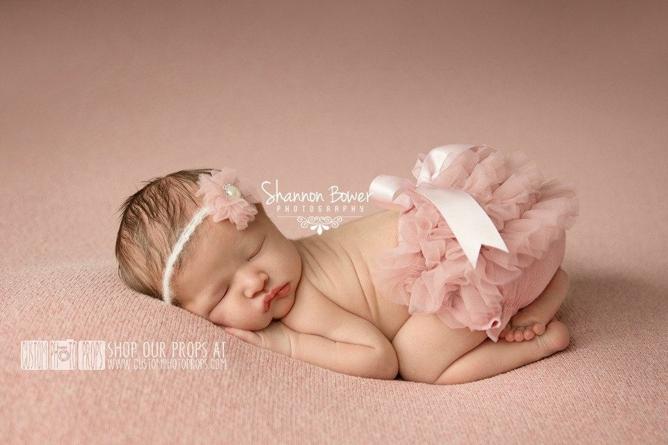 Old rose chiffon diaper cover newborn baby photography props with matching headband newborn photo props bloomers girl props mauve pink by