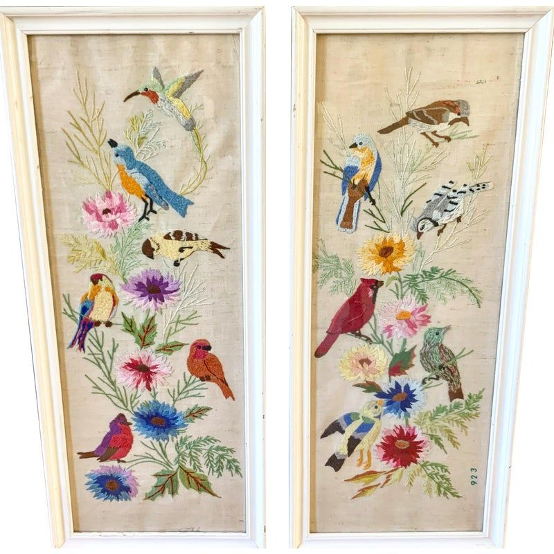 Vintage Embroidered Bird Floral Wall Decor Floral Wall Embroidered Bird Wall Decor