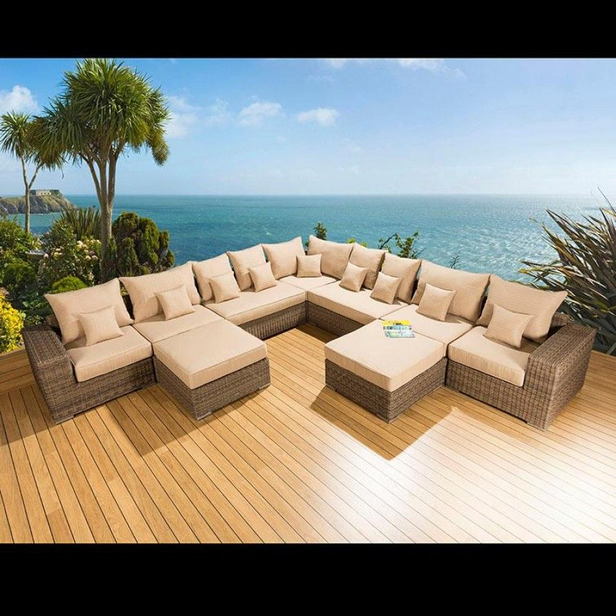 Outdoor Garden Furniture L Shape Corner Sofa/set Group Mocha Rattan 24.  Truly Stunning