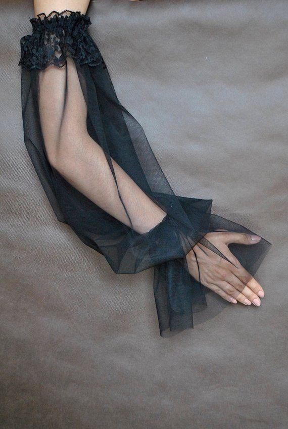 Photo of Elegant big sleeves GOTHIC VAMPIRE Glamour black gloves, tul…