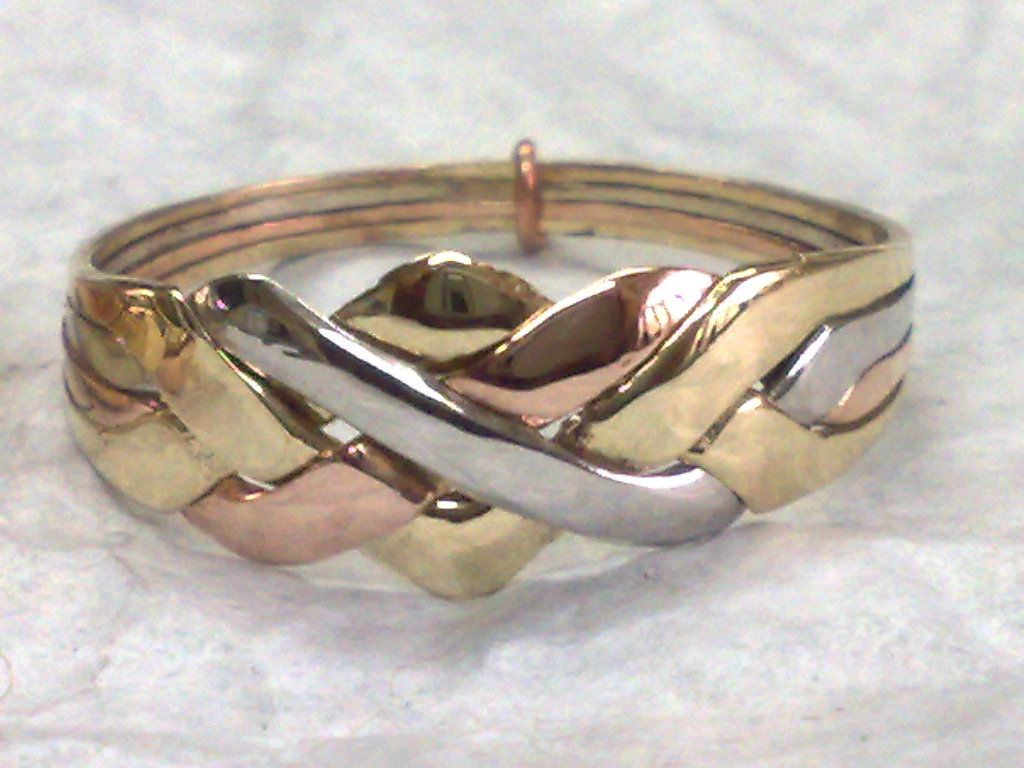 14k Tricolored Gold 4 Band Puzzle Ring Wholesale 10 Rings