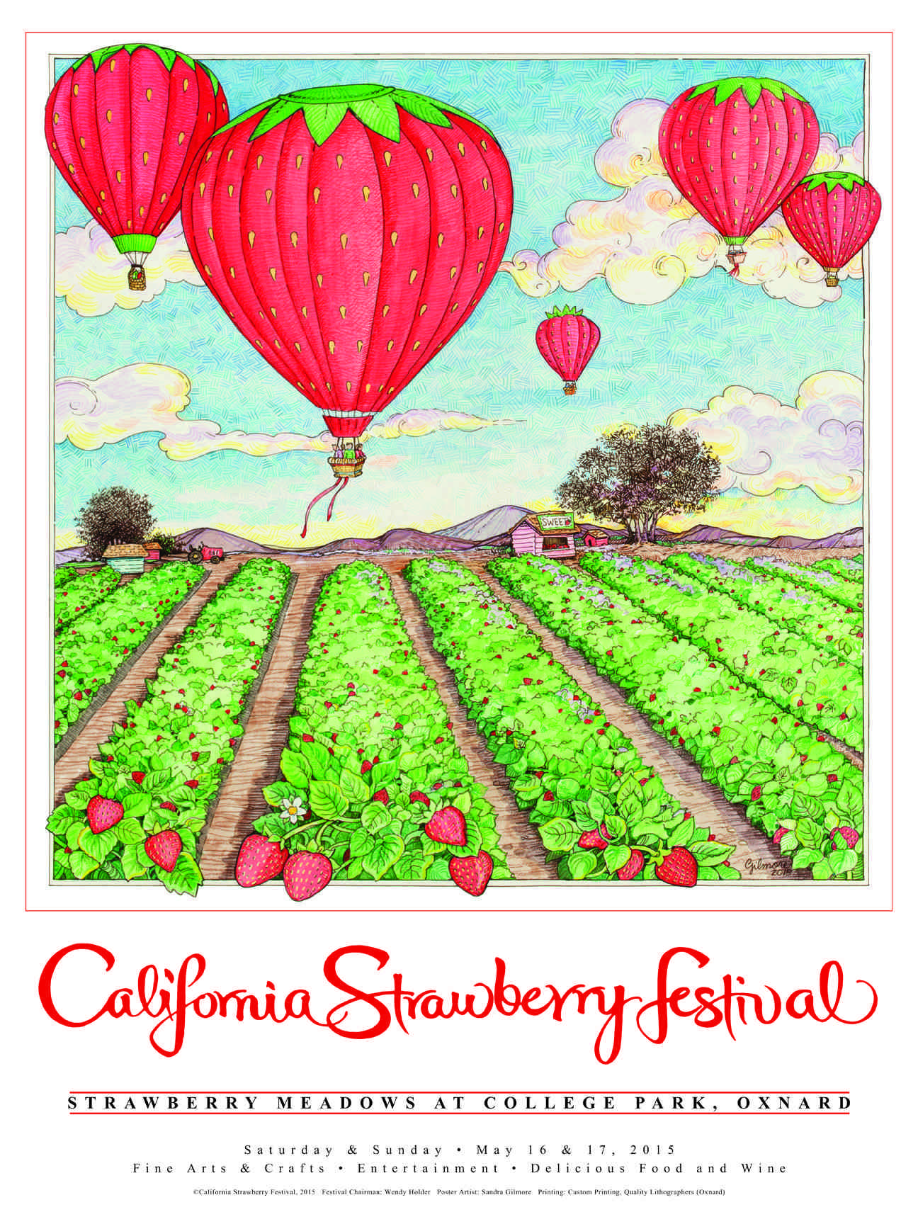 4 h poster designs - Famed Needlepoint Illustrator Sandra Gilmore S High Flying Original Strawberry Design On The 2015 Official California Strawberry Festival Poster
