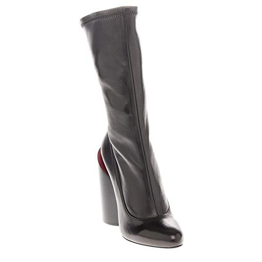 fd587ed61f4d4 Givenchy Women s Oversized Cylindrical-Heel Boots Leather Black + Red EU 36  ...