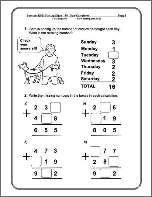 Level 34 Missing Digits Maths Worksheet school – Fun Maths Worksheets Year 4
