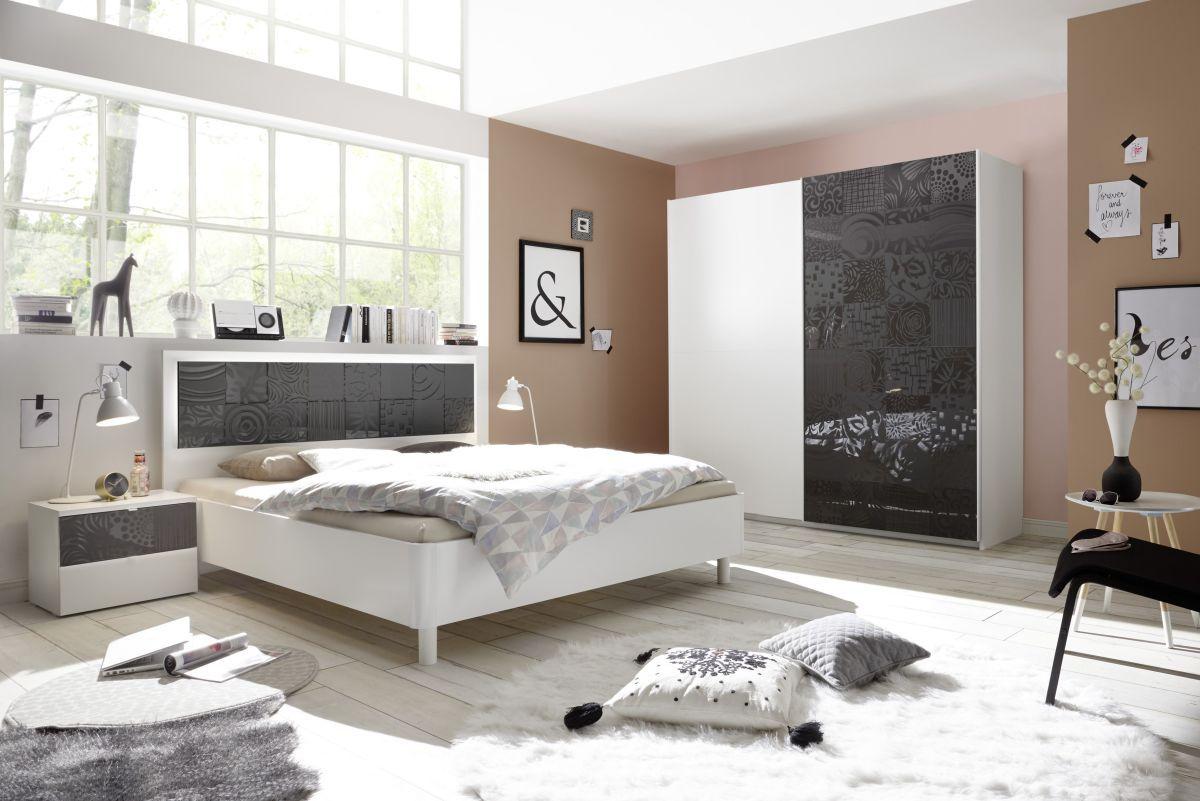 Schlafzimmer Mit Bett 180 X 200 Cm Weiss Matt Mit Siebdruck In Anthrazit  Hochglanz Classico Xaos Weiß Holz Modern Jetzt Bestellen Unter: ...