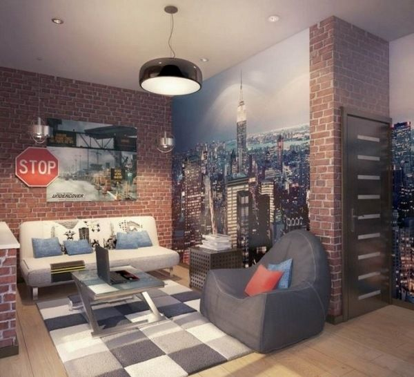 teenager room ideas industrial brick wall wallpaper white sofa gray armchair coffee table - Brick Wallpaper Bedroom Ideas