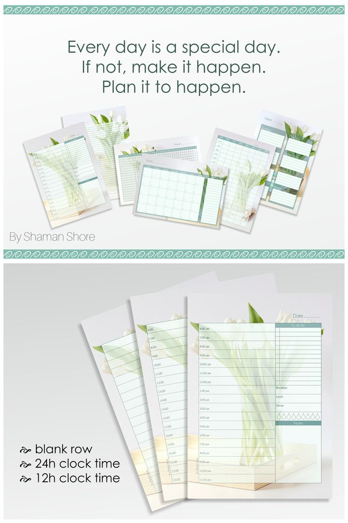 Self Efficiency, Self Organization Time Management A4 Daily - daily planner sheets