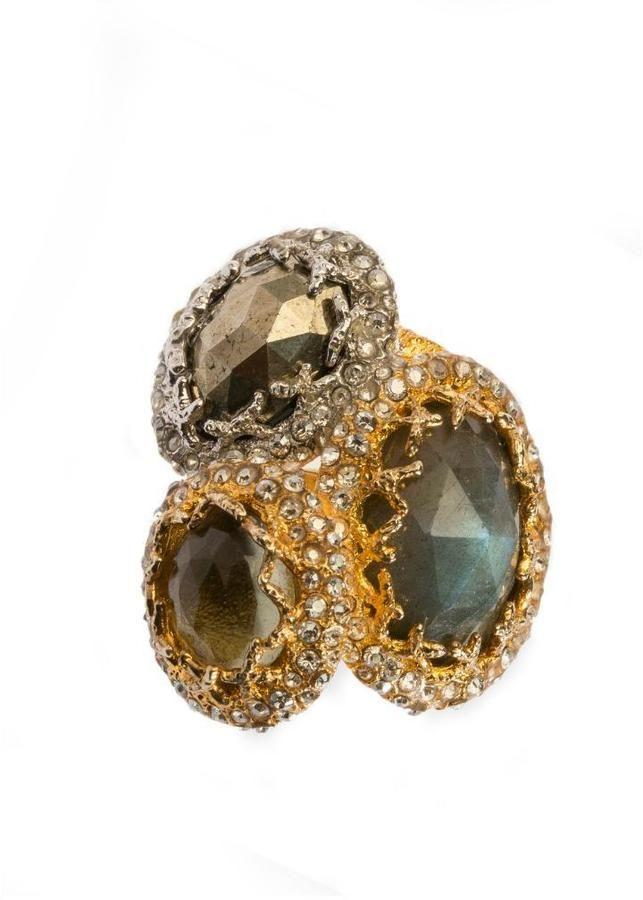 Alexis Bittar Multi Stone Gold Ring | Stylish jewelry, Three stone ...