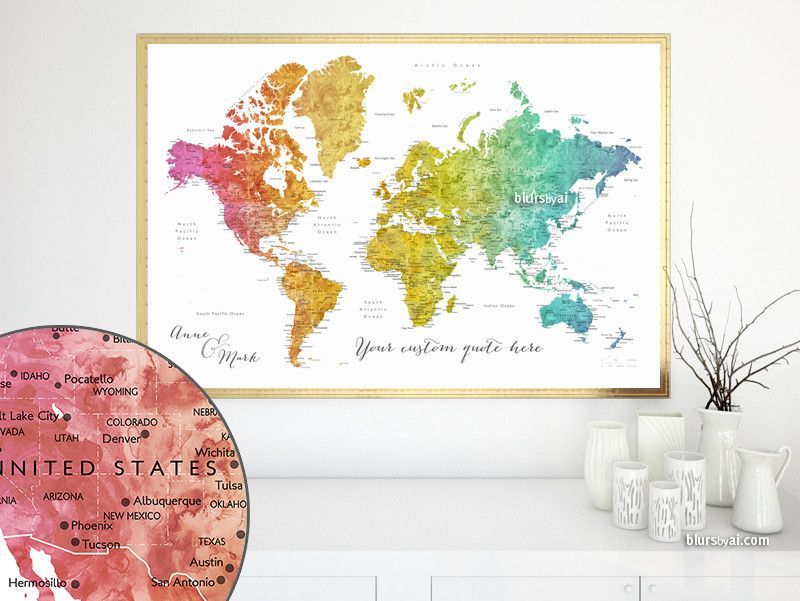 custom quote printable colorful gradient watercolor world map with cities capitals countries