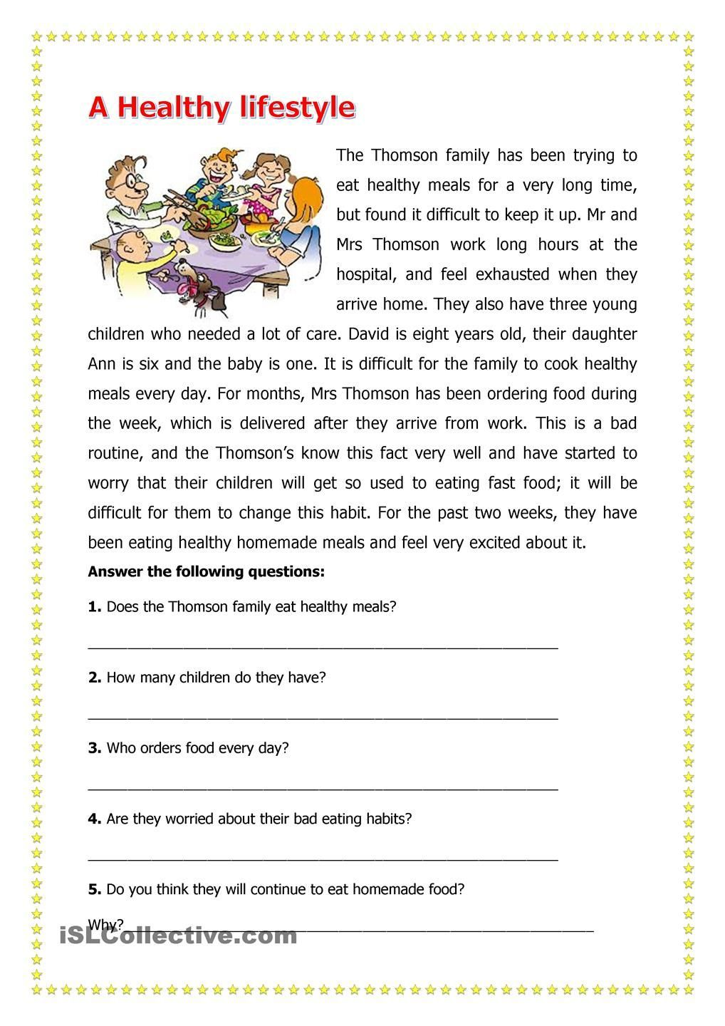 A Healthy Lifestyle Reading Comprehension Worksheets Reading Worksheets Comprehens In 2021 Reading Comprehension Worksheets Reading Worksheets Comprehension Worksheets