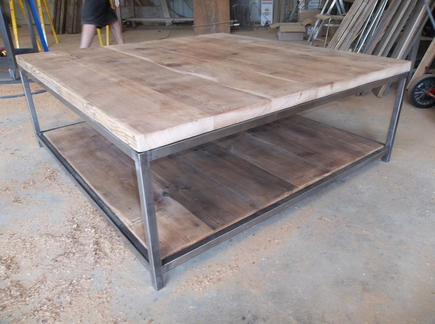 Large Quare Wood Coffee Table With Square Steel Legs Made Of