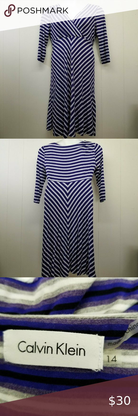 Calvin Klein 14 Dress Blue Striped Surplice Wrap