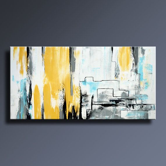 abstract painting yellow gray white black blue painting original canvas art contemporary. Black Bedroom Furniture Sets. Home Design Ideas