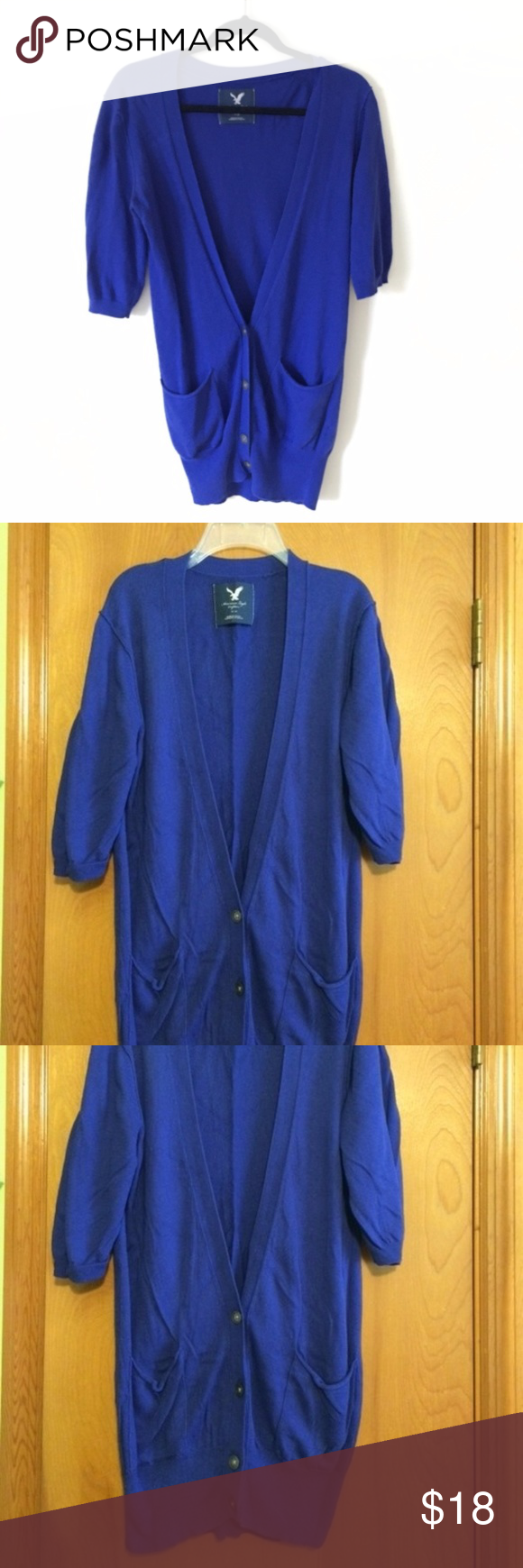 AE royal blue short sleeve cardigan | Royal blue shorts, Royal ...