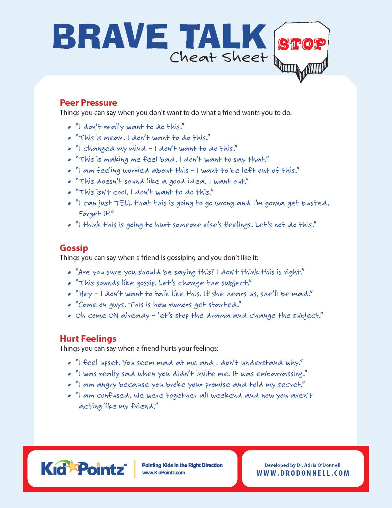 Brave Talk Cheat Sheet