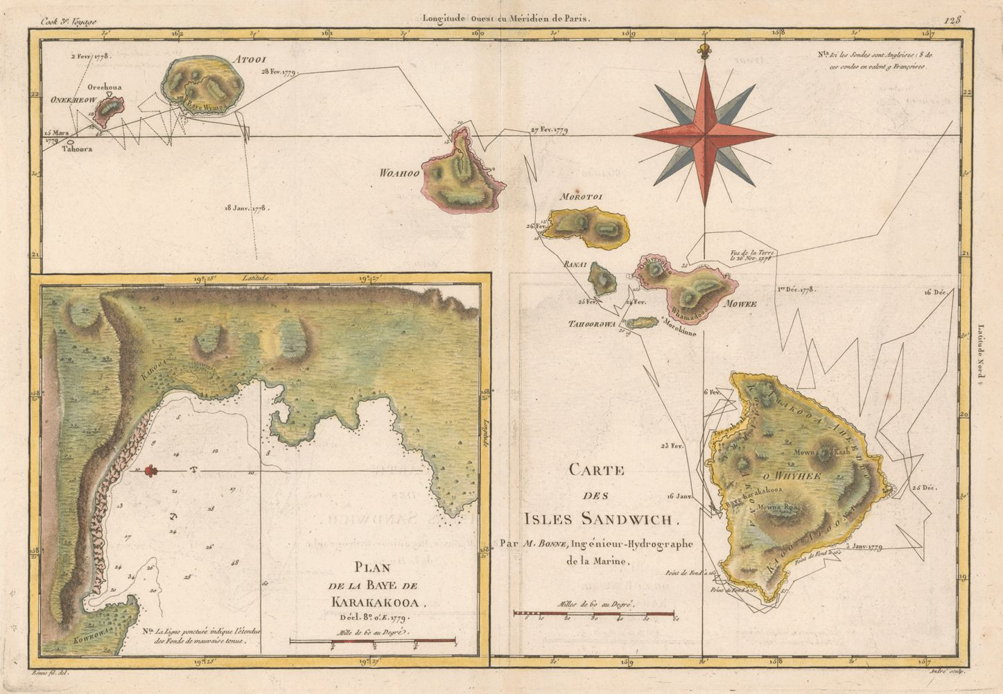 Ancient 1778 Map Of Hawaii Of The Voyage Of Capt Cook During