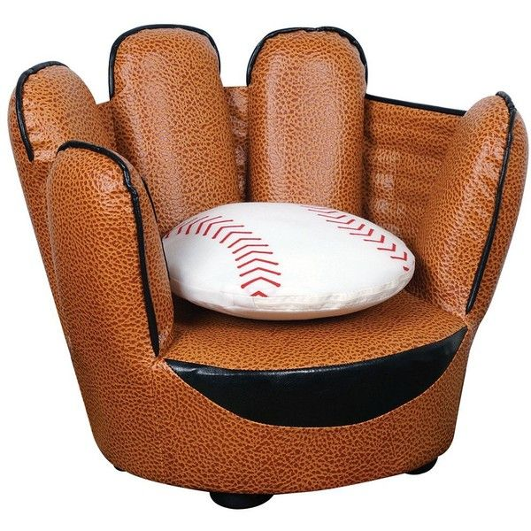 Childrenu0027s Baseball Glove Chair And Pillow Set   #Y0462 ($80) ❤ Liked On