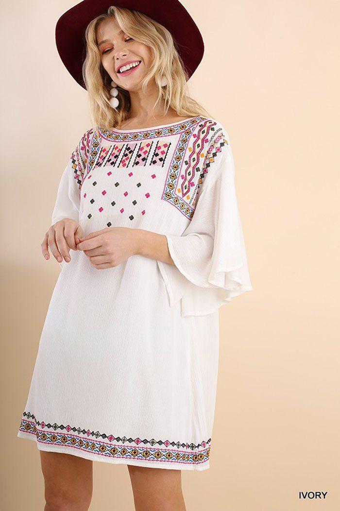 Elise Boho Midi Dress : Ivory – GOZON Boutique