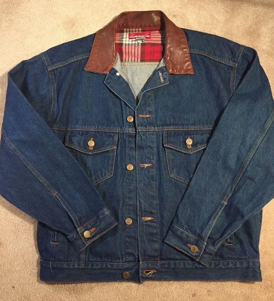 Vintage Marlboro Denim Jacket Leather Collar Heavy Men S Medium Marlborocountrystore Jeanjacket Black Cotton Sweatshirt Denim Western Denim Jean Jacket [ 1000 x 912 Pixel ]