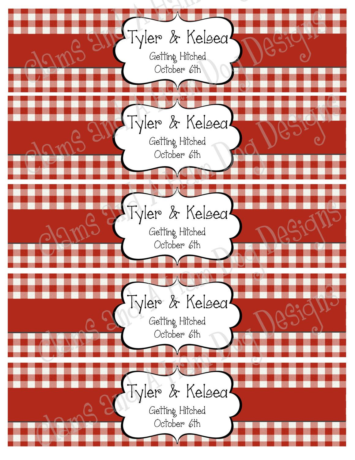 Customized Water Bottle Labels Includes Text Of Your Choice Farm Picnic Barbecue Bbq Theme