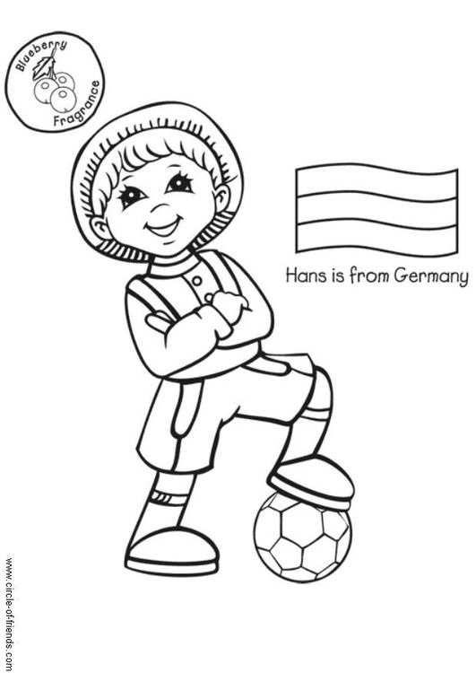 Coloring page Hans from Germany the world Pinterest Free