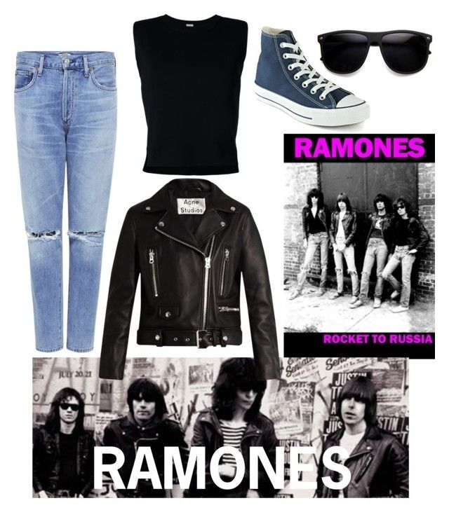 """Ramones"" by claire5b ❤ liked on Polyvore featuring Citizens of Humanity, Rito, Converse, Acne Studios and ZeroUV"