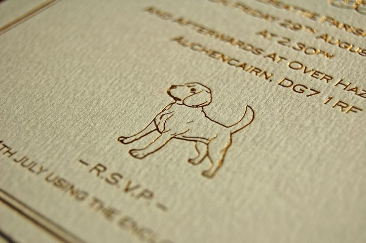 Gold Foil Embossed Wedding Invitation Beagle 10 Embossed Wedding